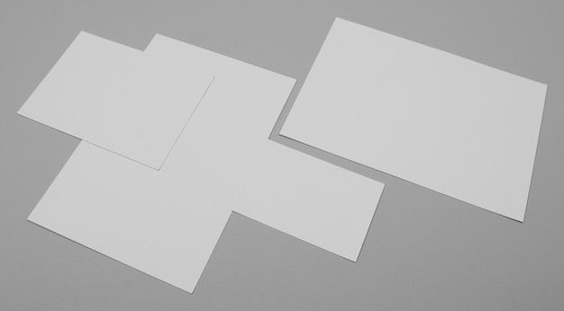 White paper sheets high angle