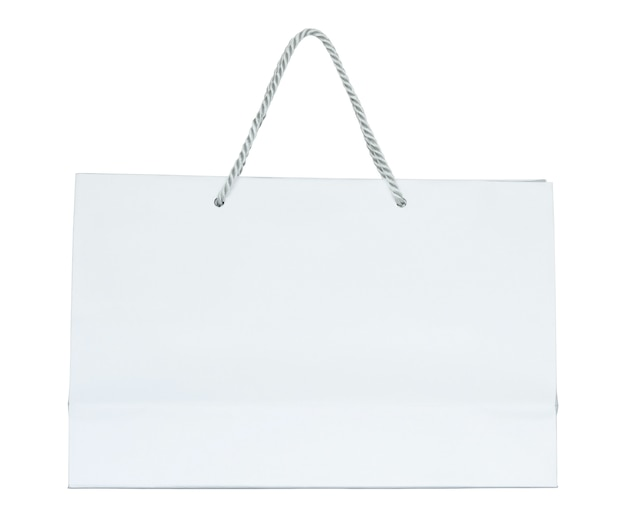 White paper shopping bag isolated on white with clipping path