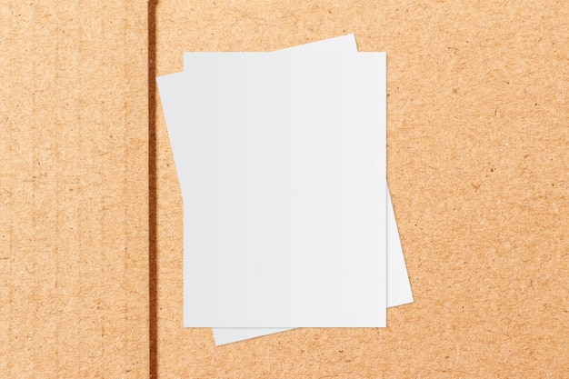 White paper and space for text on craft paper background