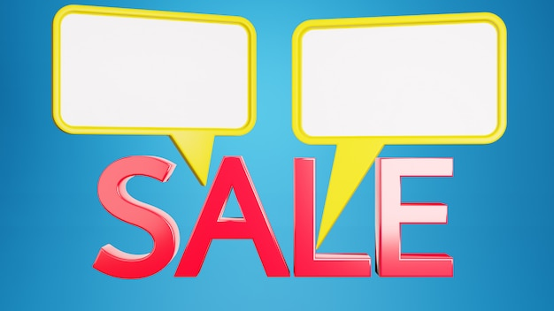 White paper speech bubble on blue background . two chat speech sale online concept. 3d rendering.