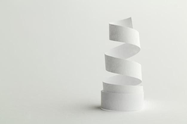 White paper spiral on white
