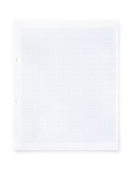 White paper with grid line pattern isolated on white background.