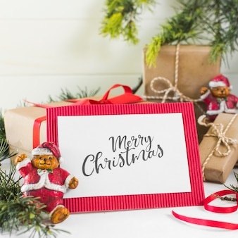 White paper with merry christmas inscription