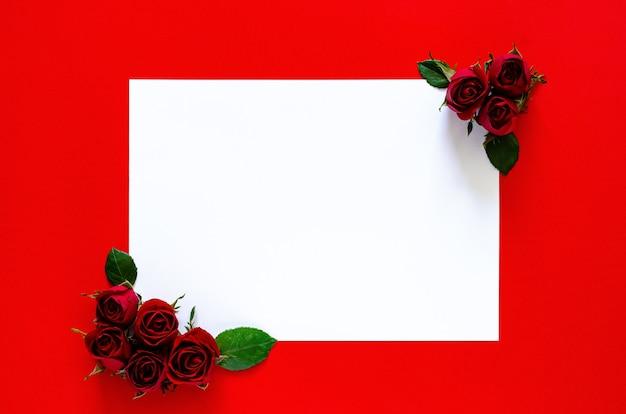 Белая бумага с красными розами для концепции дня святого валентина.