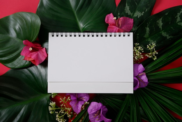White paper with space for text or picture on red background and tropical leaves and flowers