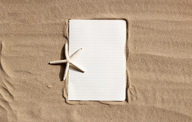 砂の上のヒトデの白い紙。
