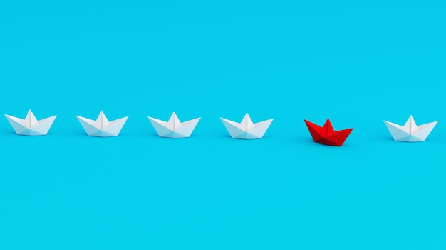 White paperboats in one direction with one red paperboat changing direction on cyan background being...