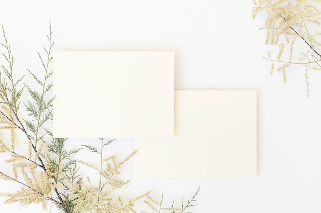 White papers and envelope with tropical palm leaf