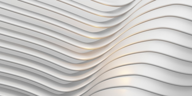白い平行線アーク波プラスチックチューブ表面歪んだ曲線抽象的な背景3dイラスト