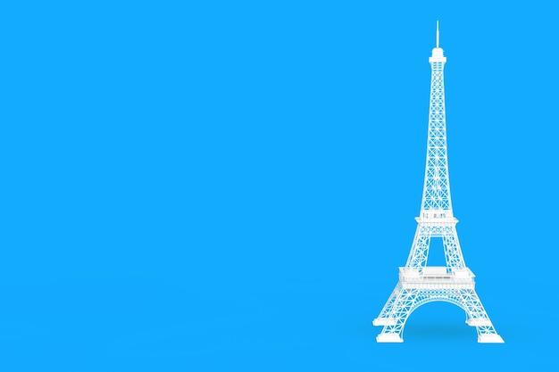 青い背景に白いパリのエッフェル塔の像。 3dレンダリング