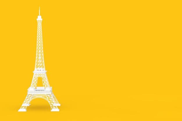 黄色の背景に白いパリのエッフェル塔の像。 3dレンダリング