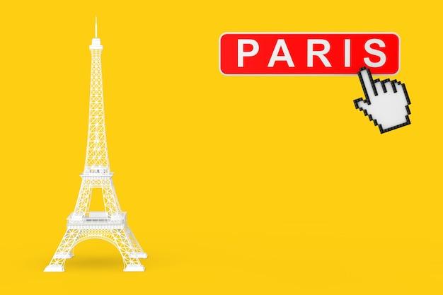 黄色の背景にパリのボタンとピクセルアイコンの手と白いパリエッフェル塔の像。 3dレンダリング