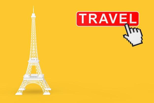 黄色の背景にトラベルボタンとピクセルアイコンの手が付いた白いパリのエッフェル塔の像。 3dレンダリング