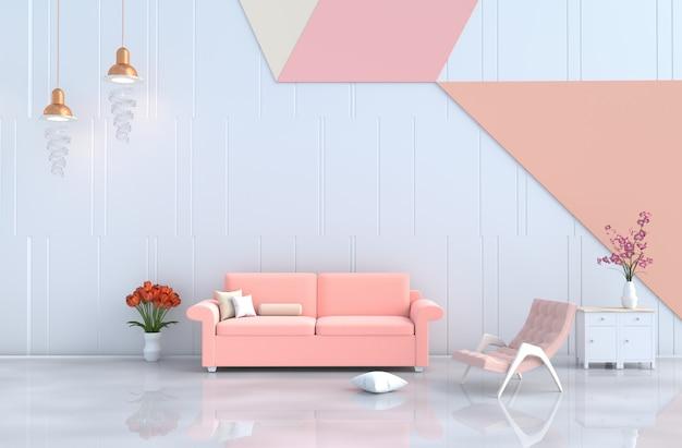 화이트 파스텔 거실, 팔 의자, 소파, 벽, 난초, 튤립.