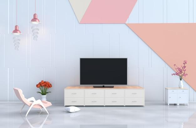 화이트 파스텔 거실, tv, 안락 의자, 벽, 난초, 튤립.