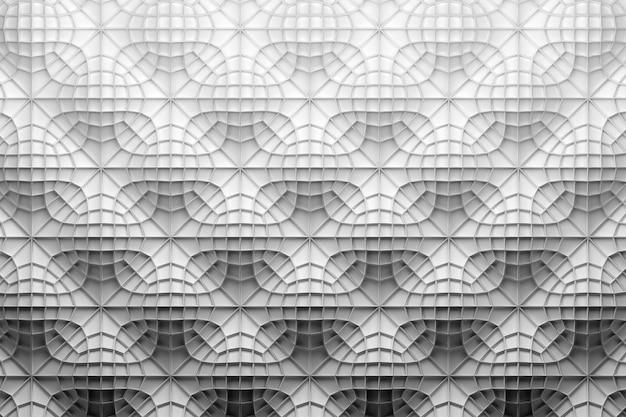흰색 물결 모양의 표면 위에 복잡한 와이어 프레임이있는 흰색 패턴