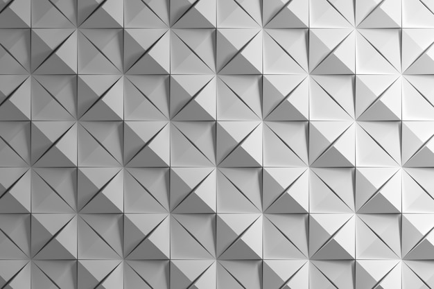 White pattern with squares and pyramids with deep cuts