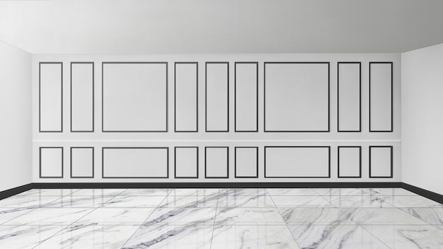 White patterned wall with marble floor empty room mockup
