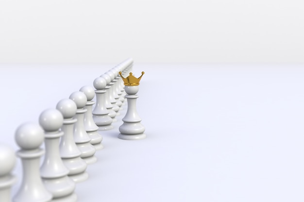 White pawn of chess standing out from the crowd on white