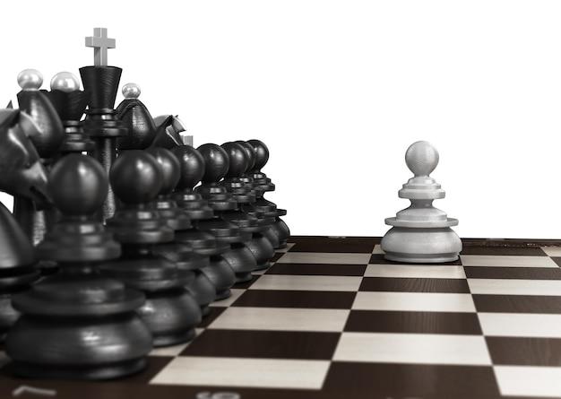 Белая пешка, стоящая впереди, выложена в ряд черных шахмат на шахматной доске