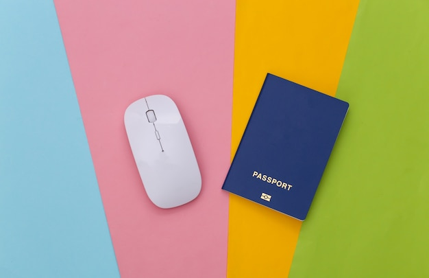 White pc mouse and passport