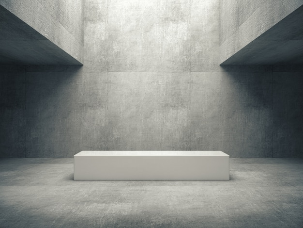 White pedestal in concrete room