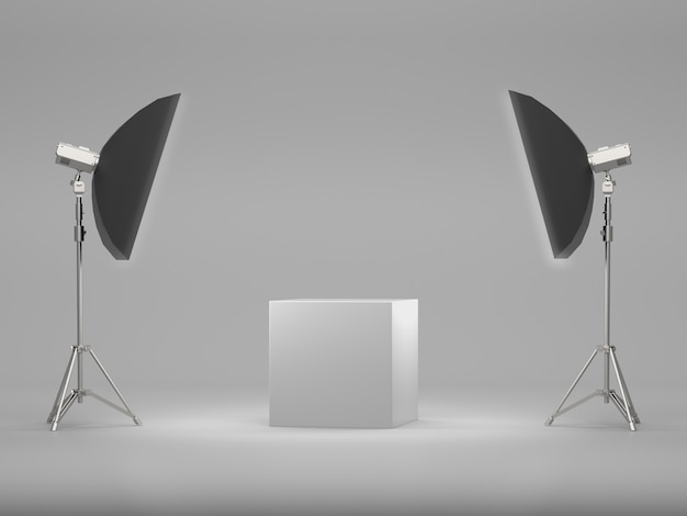 White pedestal for display with soft box light.