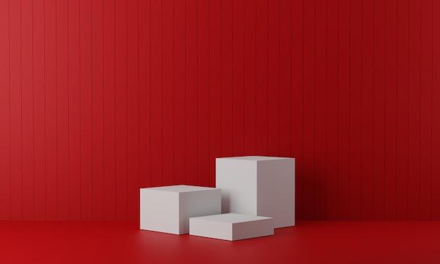 디스플레이 용 흰색 받침대. 기하학적 형태의 빈 제품 스탠드. 3d 렌더링
