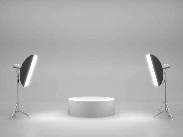 スタジオルームのライトボックス付きの製品ショー用の白い台座。 3dレンダリング