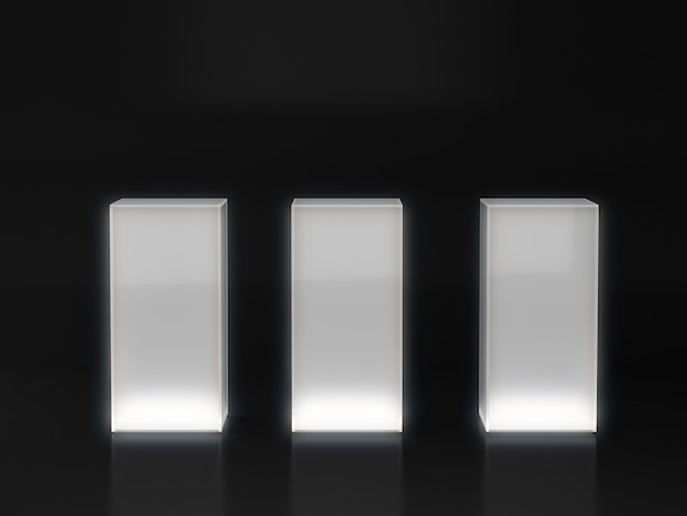 Белый постамент для витрины с белым светом на темном фоне.
