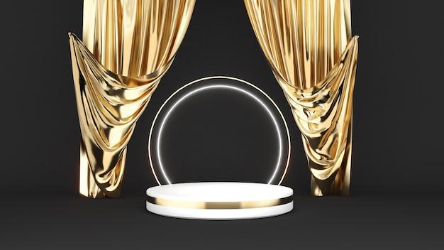 金のカーテンが付いている黒い背景の上の白い台座金の材料は表彰台をモックアップします