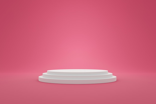 White pedestal or podium display with sweet platform. blank shelf stand for showing product. 3d rendering.