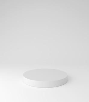 白い台座の表彰台、丸い形、製品スタンド、3dレンダリング。
