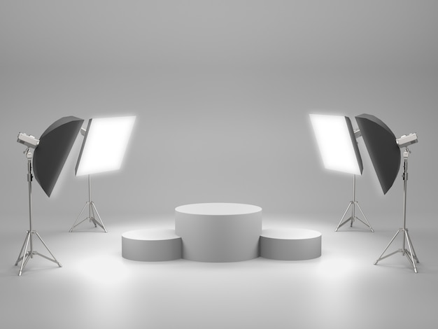 White pedestal for product show with light box in studio room. 3d rendering