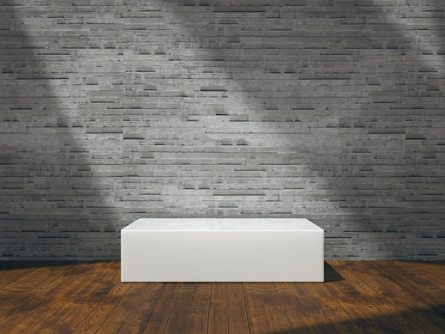 White pedestal for product show on wooden ground with nature lateral lights on tile wall
