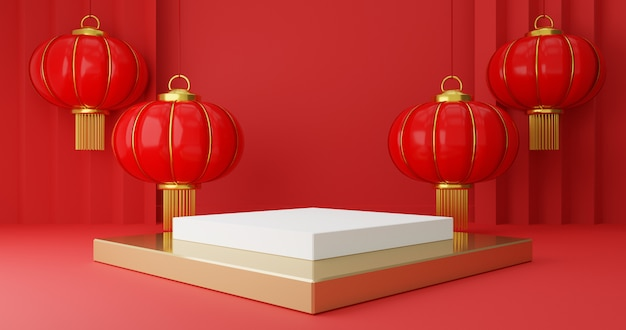 White pedestal steps on red with chinese hanging lanterns