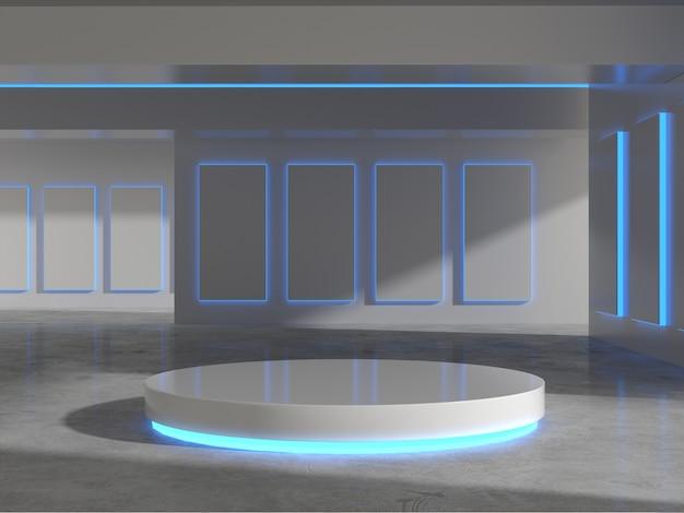 Белый постамент с легким свечением для демонстрации продукции в выставочном зале.