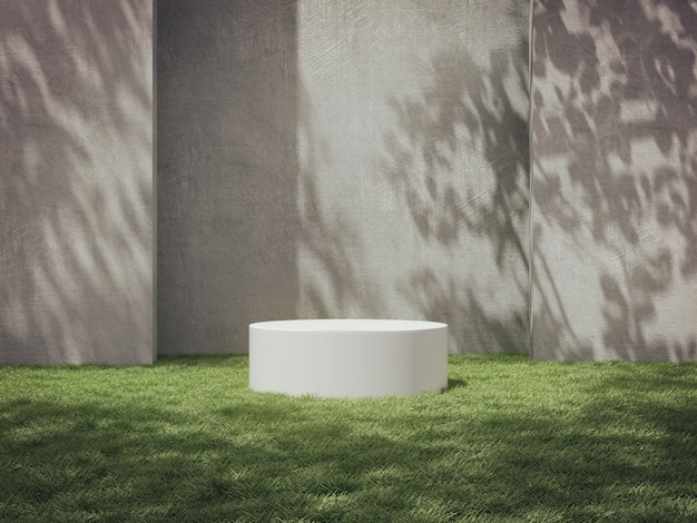 White pedestals for product show in concrete room with grass field.