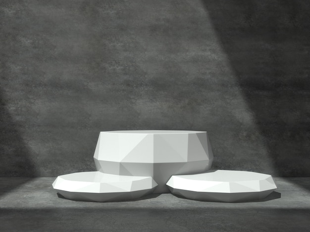 White pedestals for product show in concrete room
