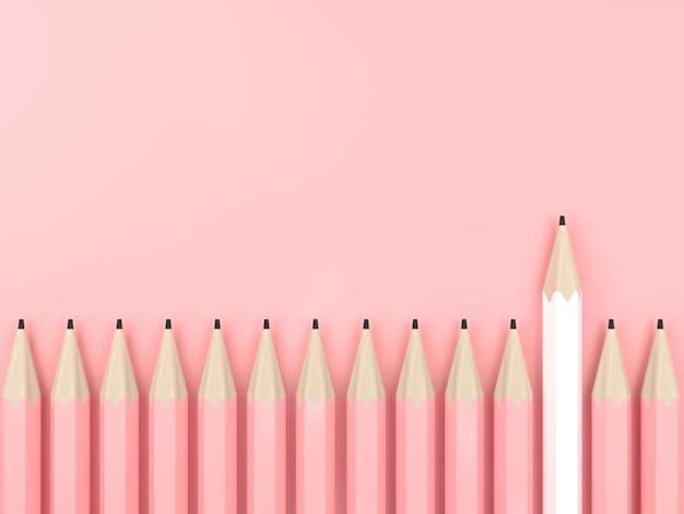 白鉛筆とピンクのパステル背景のコントラストコンセプトにすべてピンクの鉛筆