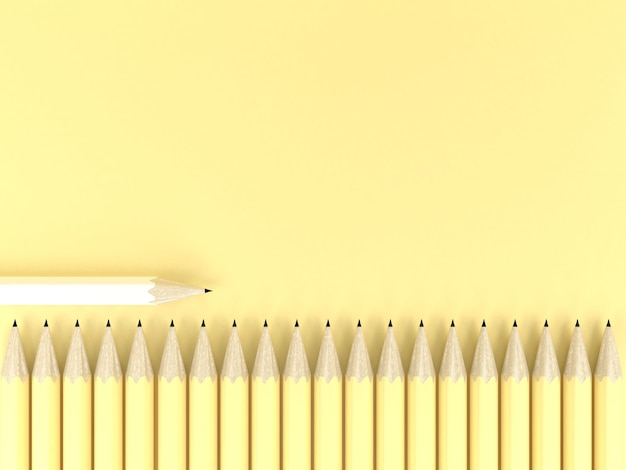 White pencil different on yellow pastel background contrast creative