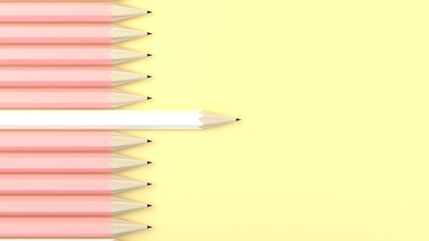 Белый карандаш другой желтый пастельный фон. минимальная творческая идея концепции. 3d визуализация иллюстрации.