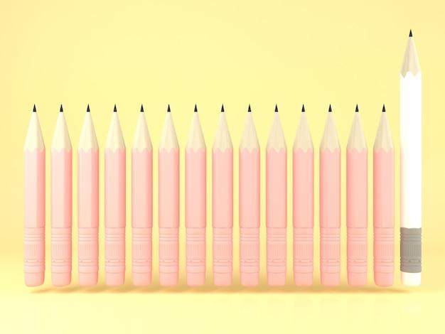 흰색 연필 다른 노란색 파스텔 배경입니다. 최소한의 창의적인 아이디어 개념. 3d 렌더링 그림.