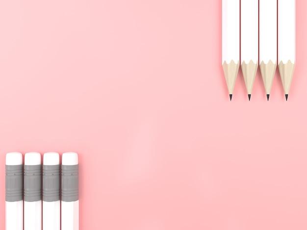 핑크 파스텔 배경 대비 복사 공간에 흰색 연필