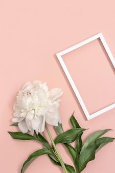 흰 모란과 핑크에 프레임