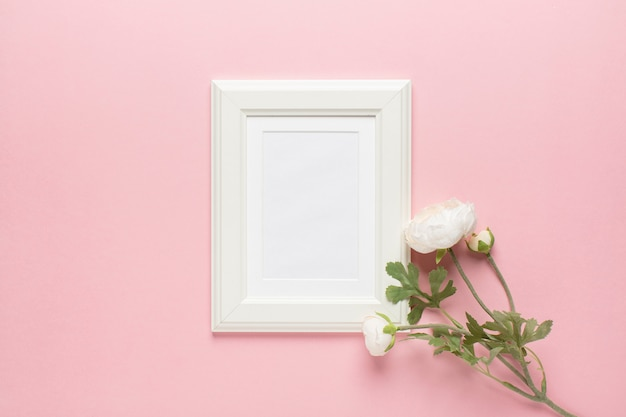 White peony with frame