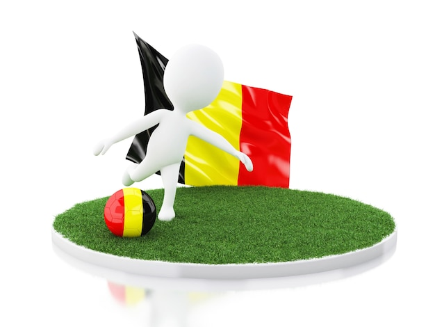 White people with belgium flag and soccer ball on grass