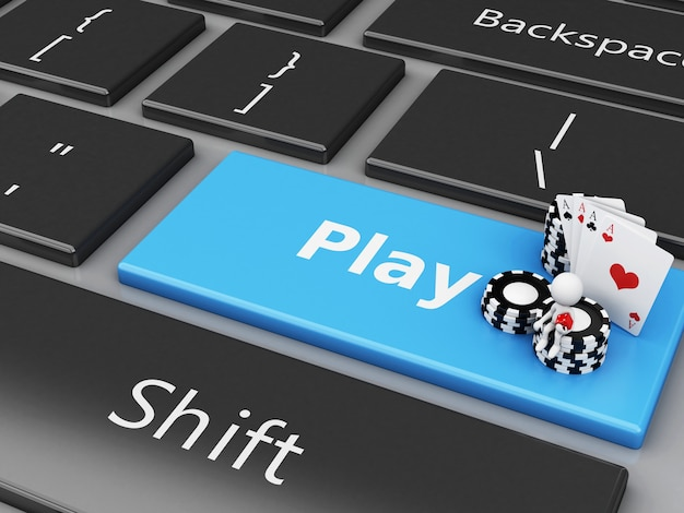 White people with chips and cards on the computer keyboard