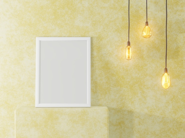 White photo frame on the background of a concrete wall and vintage lamps. interior in loft style. 3d rendering