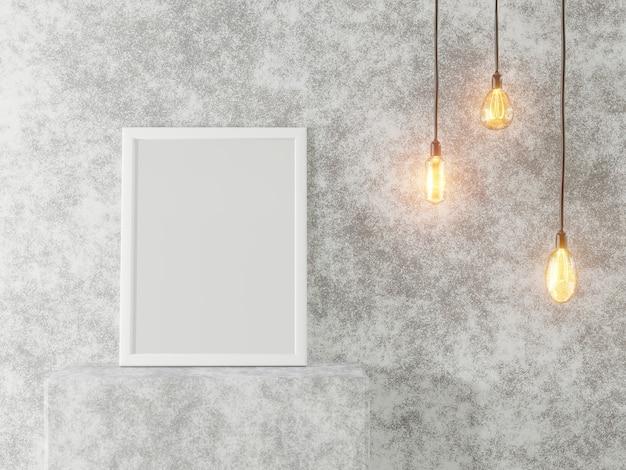 Белая рамка для фотографий на фоне бетонной стены и старинных ламп. интерьер в стиле лофт. 3d рендеринг